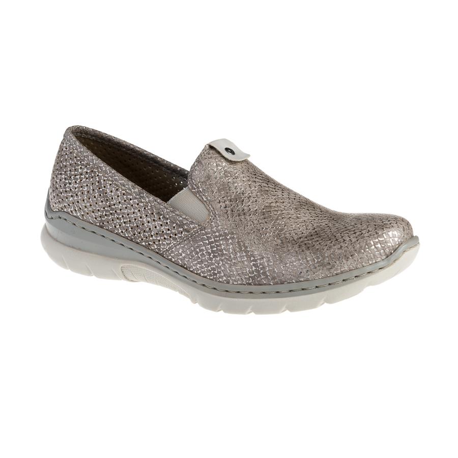 Rieker beige damesko metallic snakelook By Hein Shoes