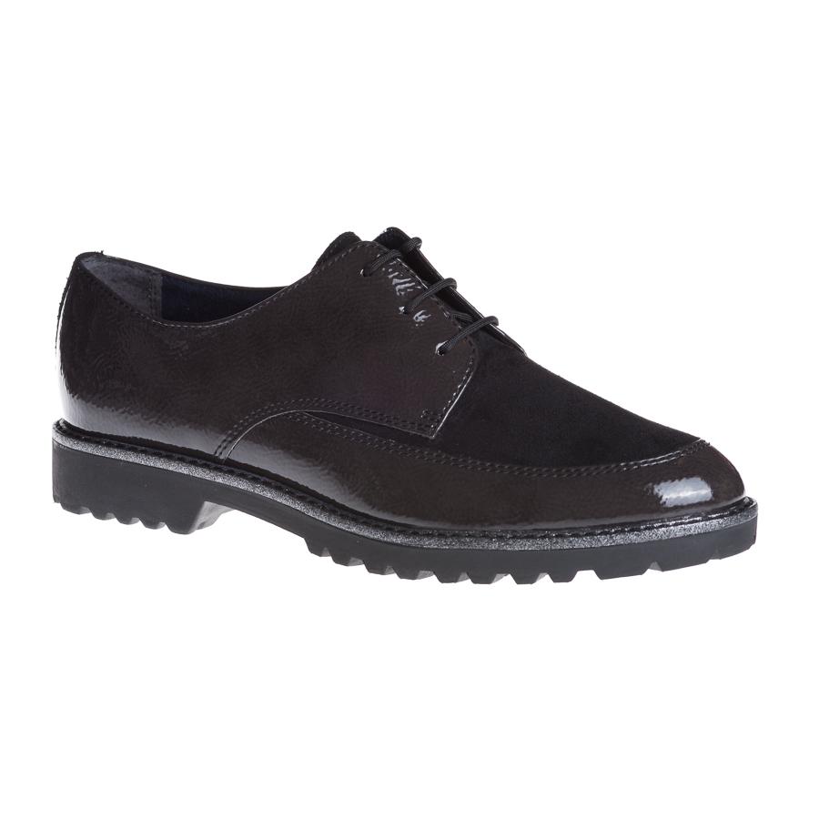 737f69d7b1c Tamaris snøresko i antracit sort lak til damer - By Hein Shoes - Fri ...