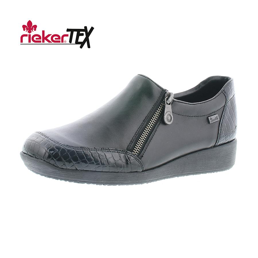 RiekerTex sort damesko med reptil lak 44094 00 By Hein Shoes
