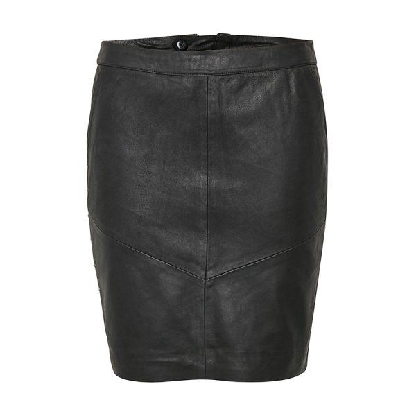Rigtig lækker skindnederdel i sort - Culture Karia Skirt.