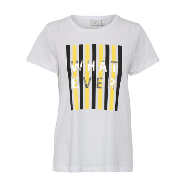 "Kaffe Katinna T-shirt (Yellow) i hvid med teksten ""What Ever""."
