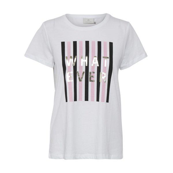 "Kaffe Katinna T-shirt i hvid med teksten ""What Ever""."