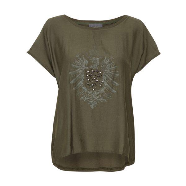 Culture Anouk T-shirt - smart model med tryk og nitter på fronten.