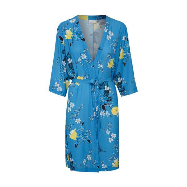 Kaffe Kajama Kimono i en fin blå farve.