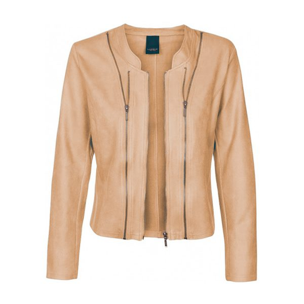 One Two Athena Suede Coated Jacket i en lys sandfarve (Sahara).