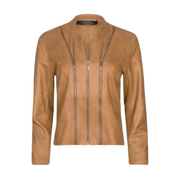 One Two Athena Suede Coated Jacket i lækkert skind look.