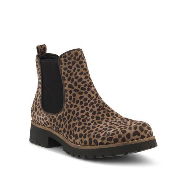 Lækker Green Comfort Leopard Chelsea boot.