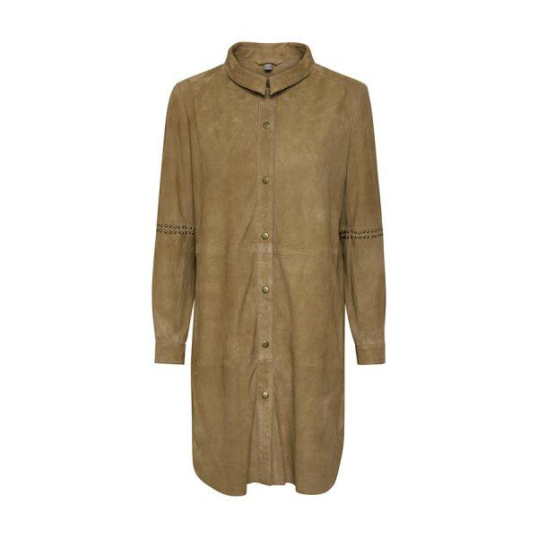 Rigtig lækker sandfarvet Culture Beal jakke i ruskind.