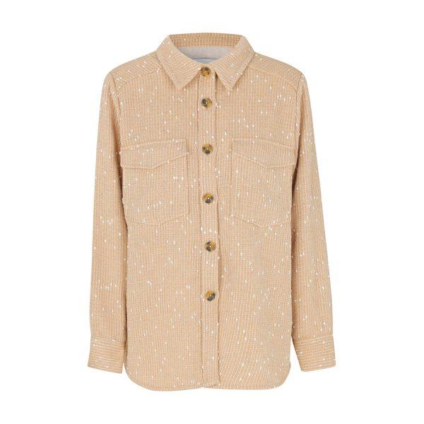 Beige skjortejakke i en dejlig kraftig kvalitet fra Levete Room Icia 100398.